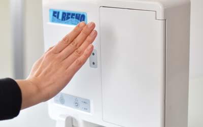 大阪府門真市の微酸性次亜塩素酸水のエルビーノは手をかざすだけのオートスタートで衛生的で感染拡大予防にも効果的