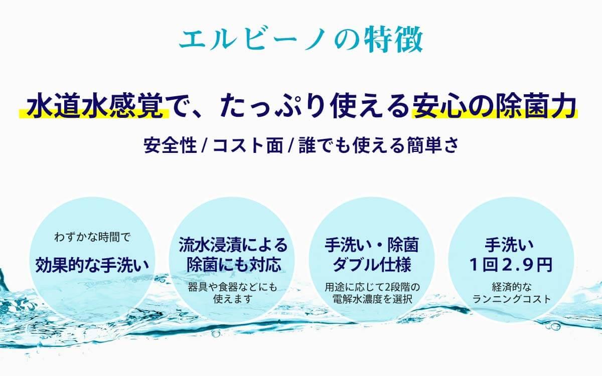 次亜塩素酸水エルビーノの特徴 水道水感覚で、たっぷり使える安心の除菌力 安全性 / コスト面 / 誰でも使える簡単さ わずかな時間で効果的な手洗い 流水浸漬による除菌にも対応 器具や食器などにも使えます 手洗い・除菌ダブル仕様 用途に応じて2段階の電解水濃度を選択 手洗い1回2.9円 経済的なランニングコスト